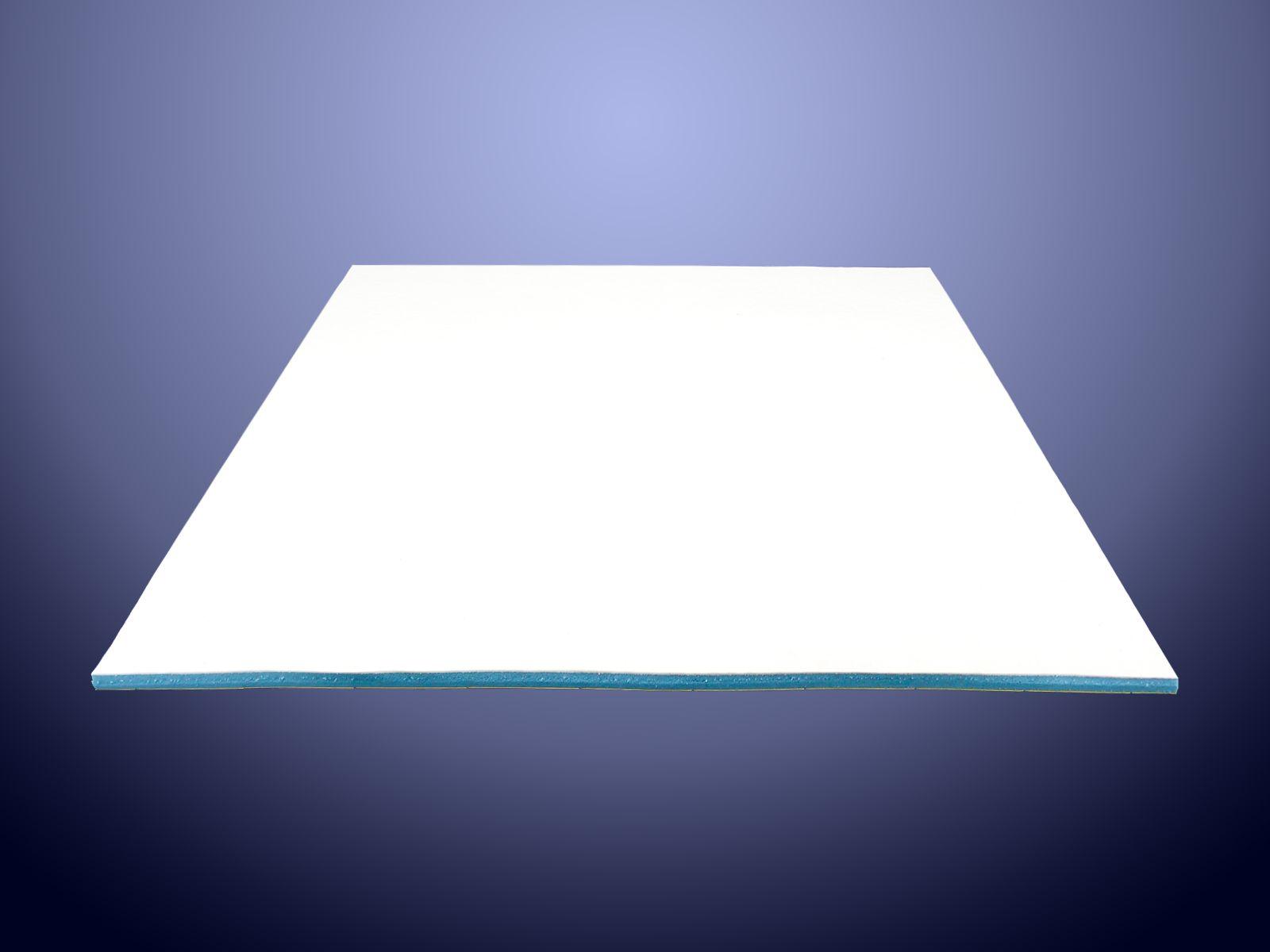 Lastra in PU Sylomer azzurro con base adesiva e spalmatura di silicone bianco sul dorso
