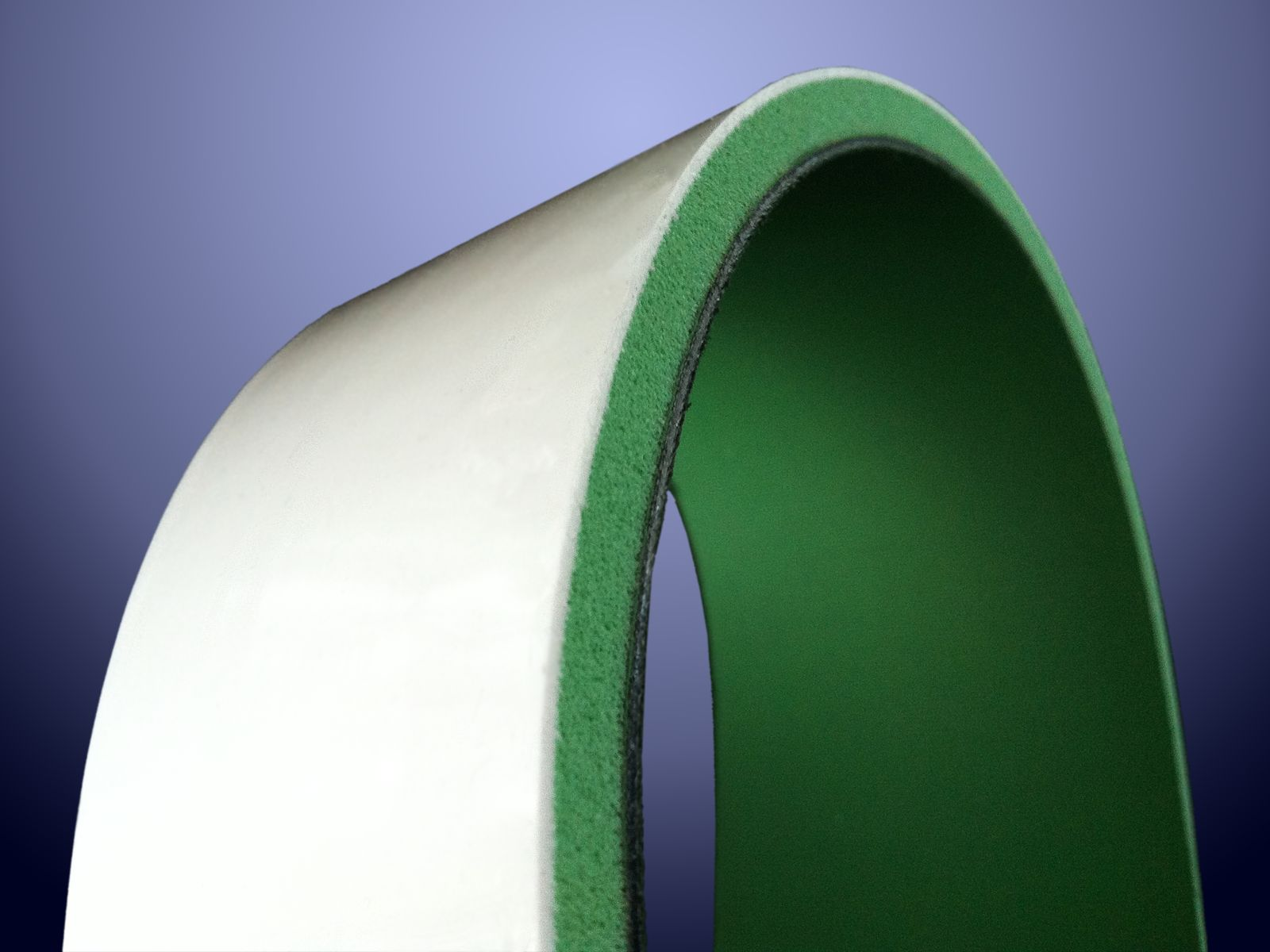 Rivestimento in sylomer verde con sovraspessore in silicone 30 shore da 1 mm