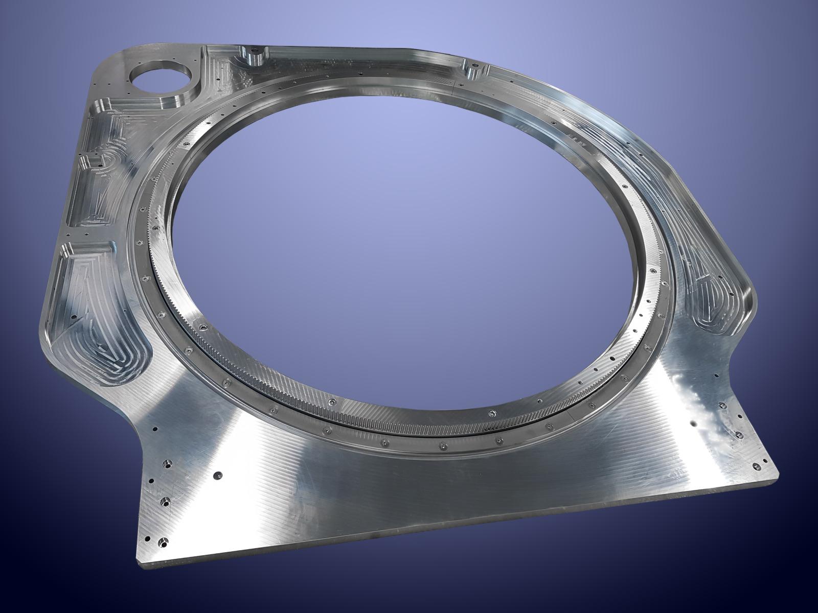 Cuscinetto in alluminio con foro interno da 1200 mm e dentatura per cinghia HTD 8M utilizzato per sistema di scansione su macchina TAC